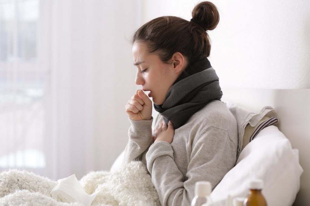 Woman with Bad Cough from the Flu